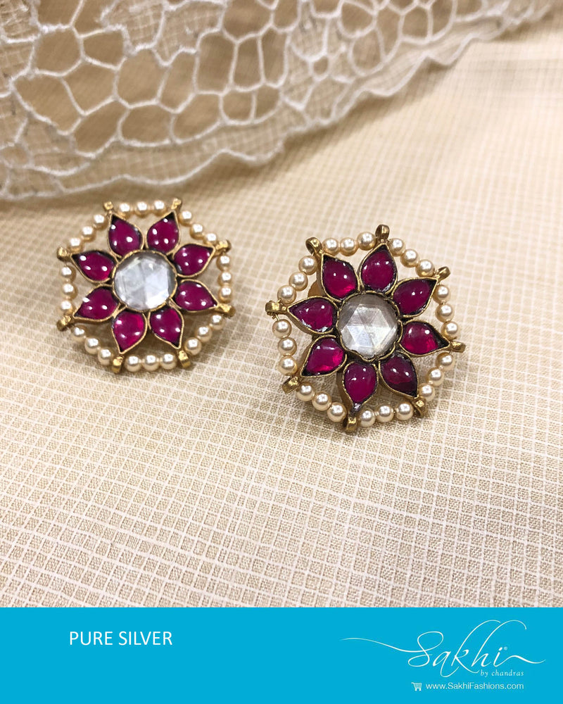 ASDS-T020 - Pink & gold pure Silver Earring