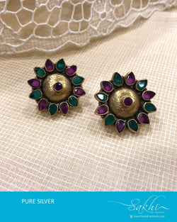 ASDS-T022 - Gold & green pure Silver Earring