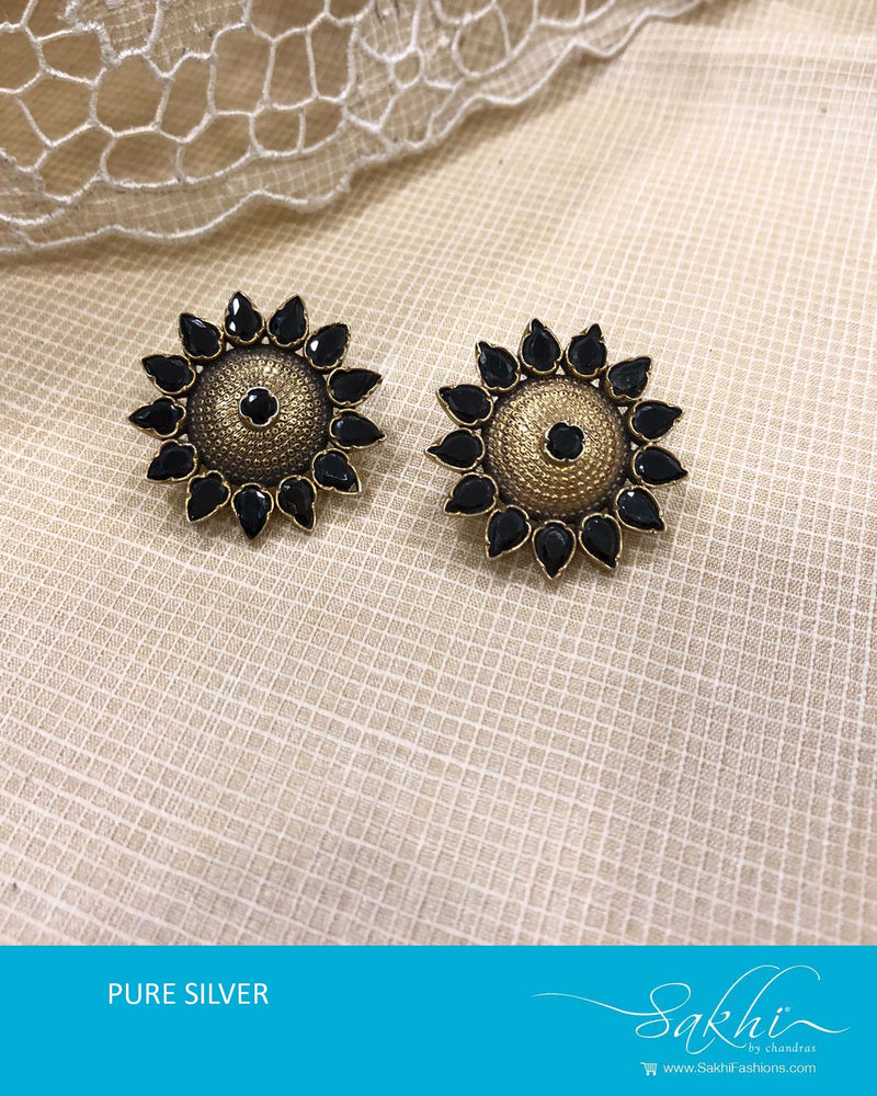 ASDS-T023 - Gold & black pure Silver Earring