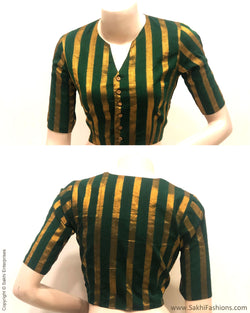 BL-R22821 - Black & Green Cotton Reversible Blouse