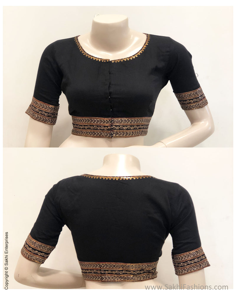 BL-S16244 - Black pure Silk Blouse