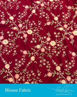 BL-S20729 - Red Velvet Blouse Fabric