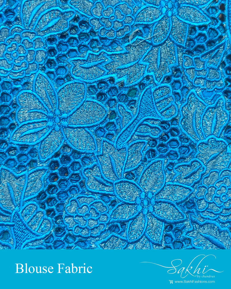 BL-S21080 - Blue &  Pure Silk Blouse Fabric