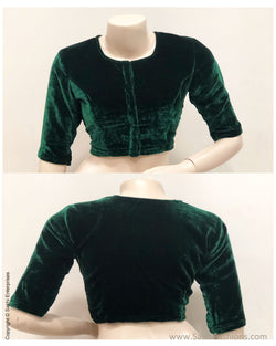 BL-S21195 - Green Velvet Blouse