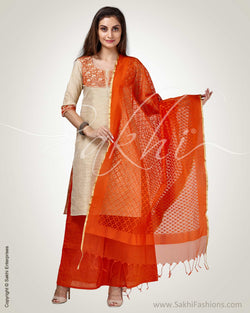 CDQ-18211 - Beige & Orange Cotton Indowestern