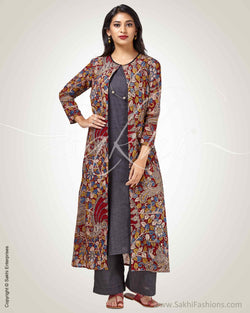 CDQ-20213 - Maroon pure Silk long jacket