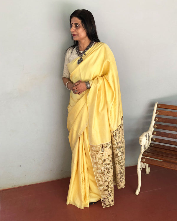 EE-Q17698 - Yellow &  pure Kanchivaram silk Saree
