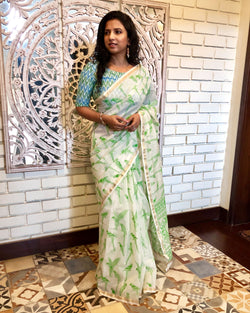 EE-R10905 - Cream & green Pure Chanderi saree