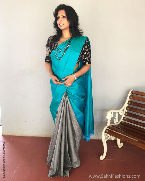 EE-R13608 - Blue & grey pure kanchivaram silk saree