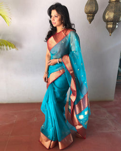EE-R23697 - Blue pure Kora silk saree
