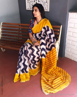 EE-R23732 - Yellow & multi pure Chanderi saree