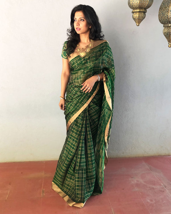 EE-R25592 - Green pure Silk Cotton Saree