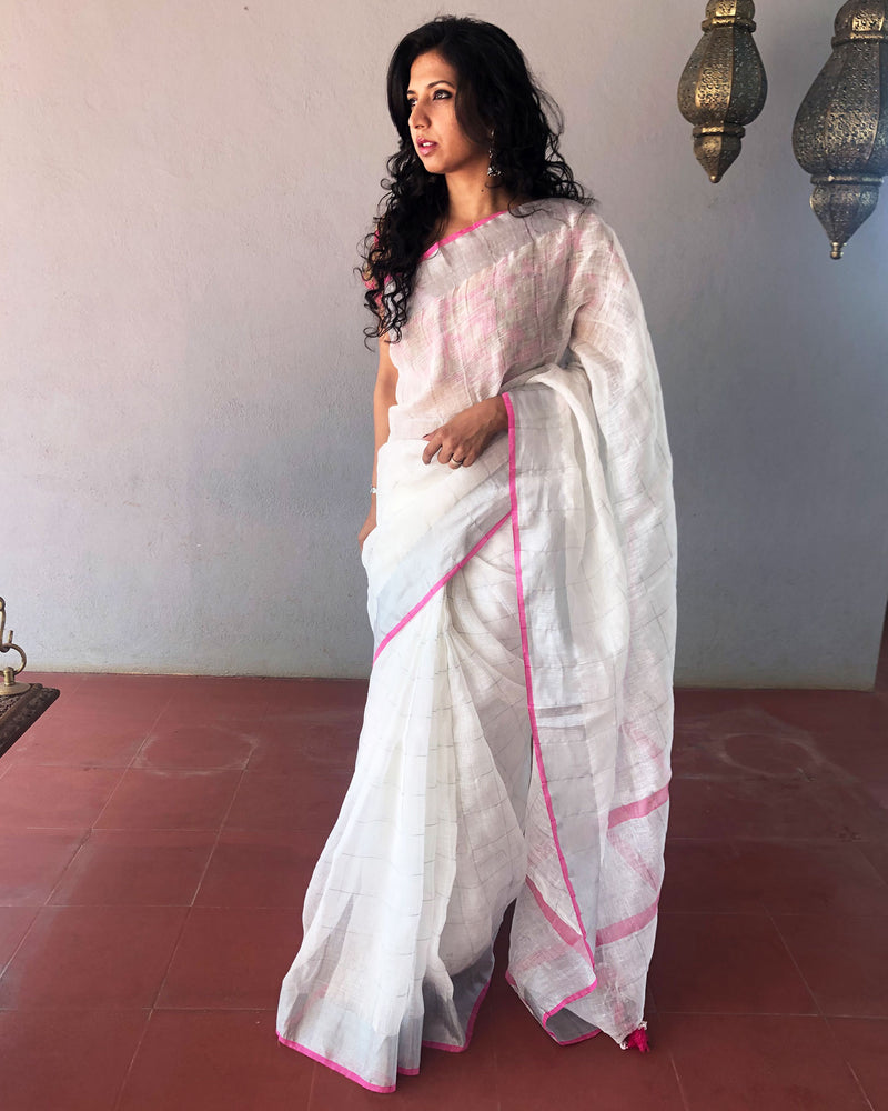 EE-R9316 - White  pure Linen saree