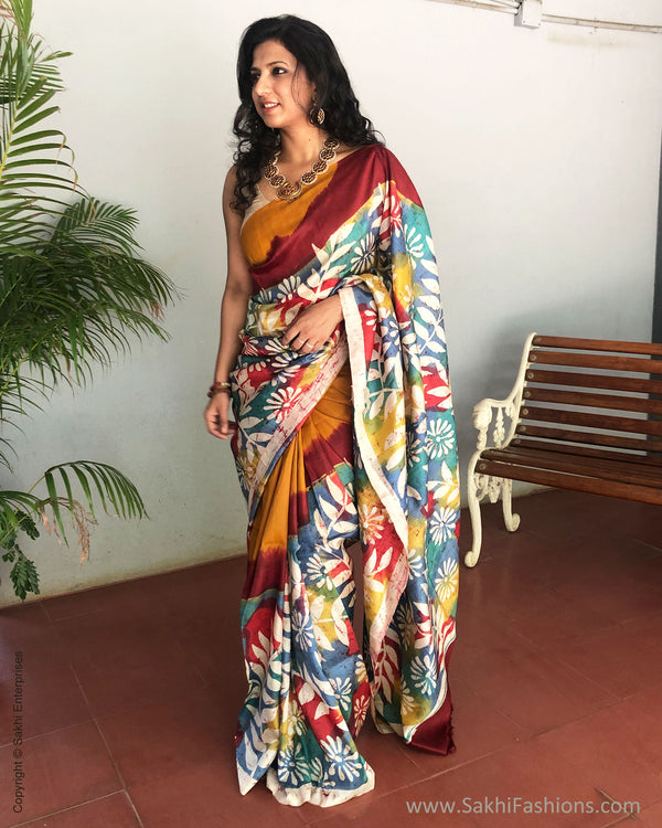 EE-S10391 - Yellow & blue Pure Silk Saree