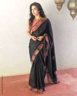 EE-S11859 - Black pure Kanchivaram silk saree