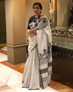 EE-S13995 - Silver & Black Pure Tissue Silk Saree