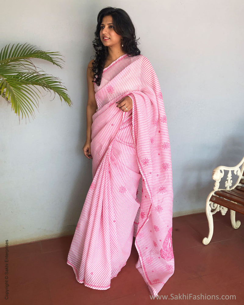 EE-S15867 - Pink & White pure Cotton kota saree