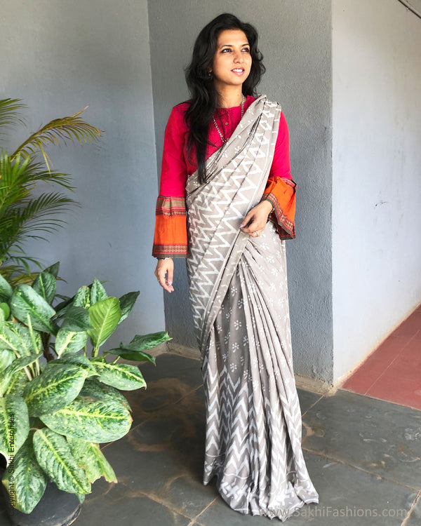 EE-S16349 - Grey Cotton saree