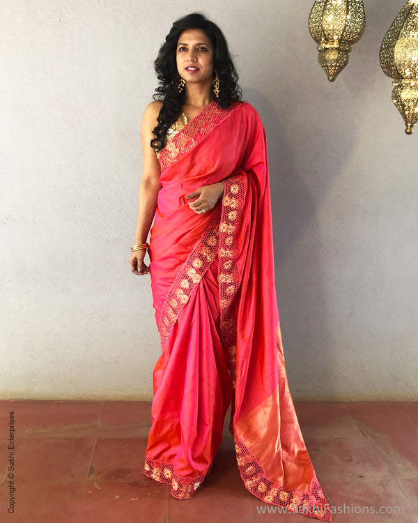 EE-S17226 - Peach pure Silk saree
