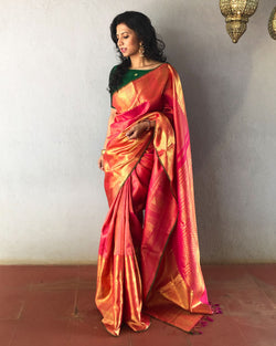 EE-S17460 - Pink pure Kanchivaram Silk saree