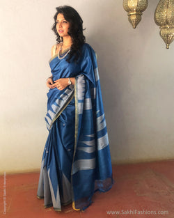 EE-S18168 - Blue & Beige pure Tussar silk saree