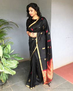 EE-S18175 - Black pure Dupion Silk Saree