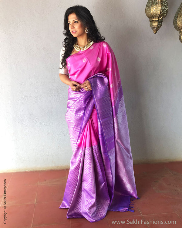 EE-S18929 - Pink & purple pure Kanchivaram silk saree