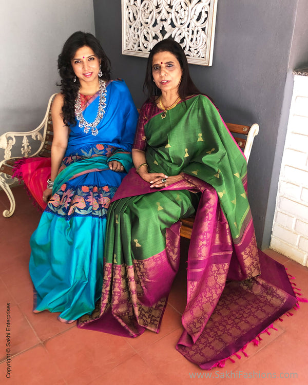 EE-S19462 - Blue& green pure Kanchinaram Silk Saree