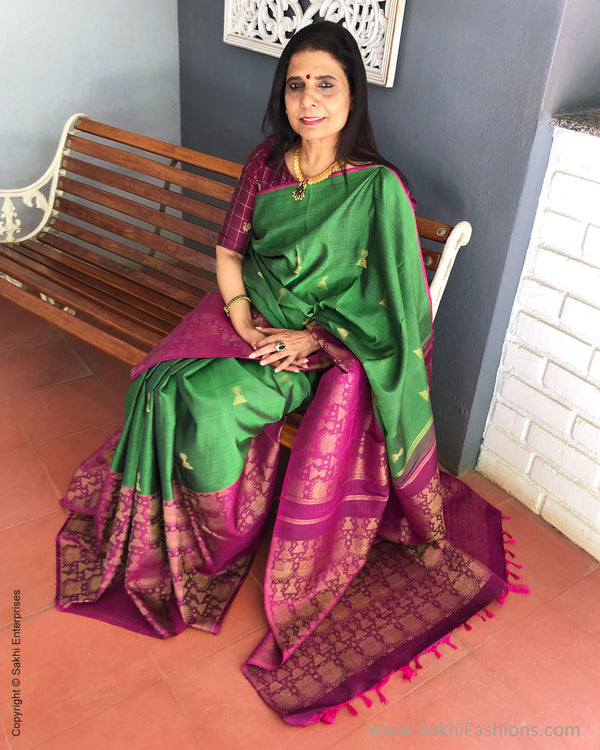 EE-S18948 - GreenPink pure Kanchinaram Silk Saree
