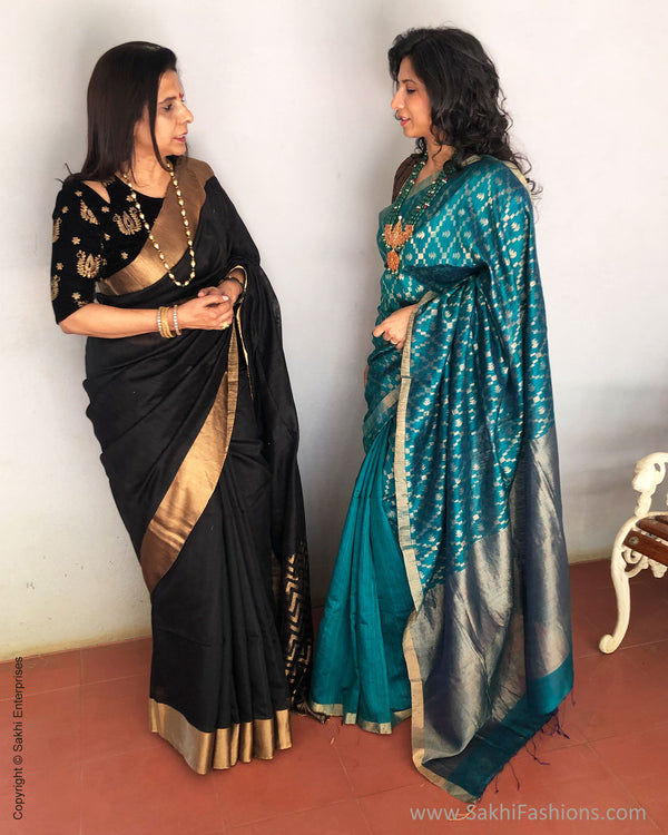 EE-S19411 - Black Matka Silk Saree