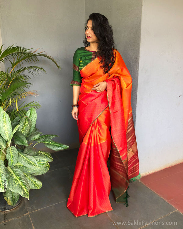 EE-S19427 - Mustard & orange pure Kanchivaram  silk saree