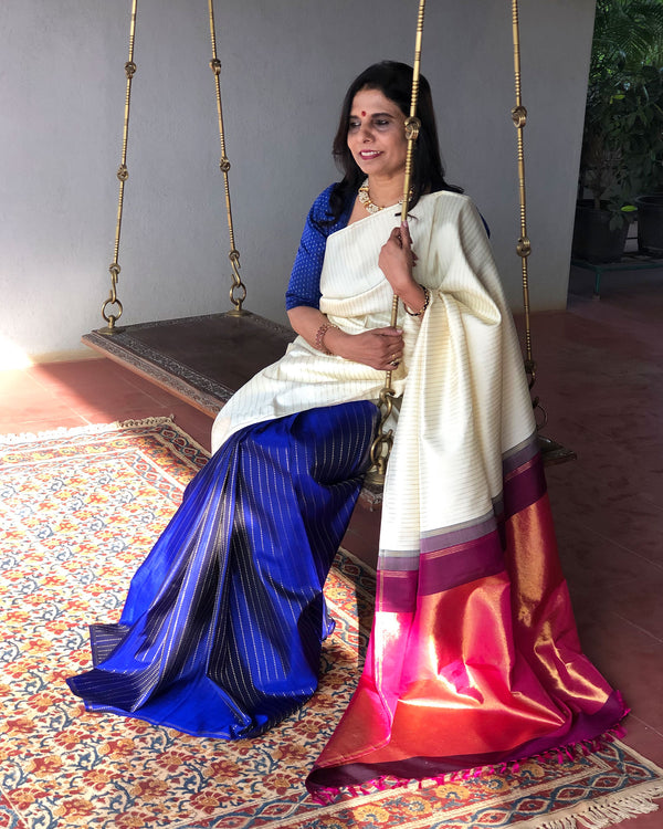 EE-S19878 - Cream & blue pure Kanchivaram silk Saree
