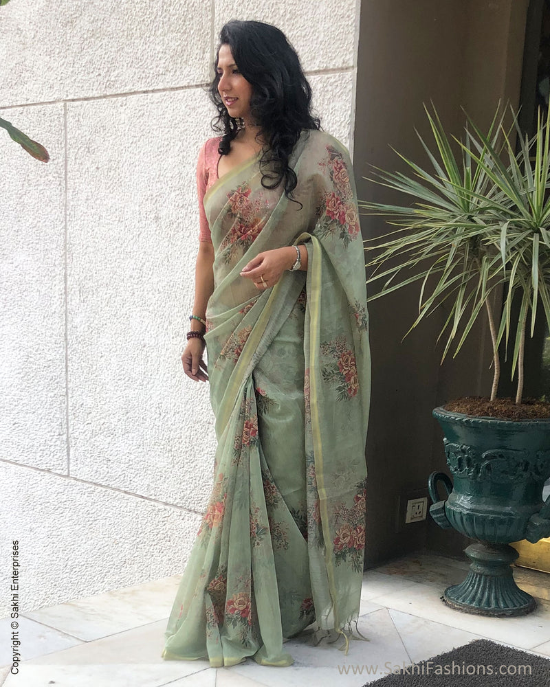 EE-S20061 - Green Faux Chanderi Saree