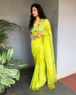 EE-S20226 - Green &  pure Organza silk  Saree