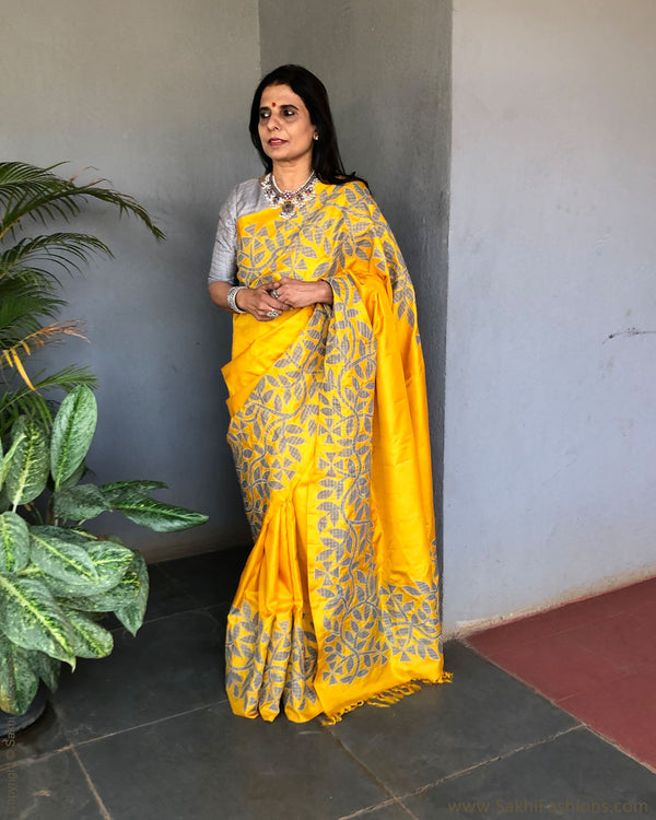 EE-S20534 - Yellow pure kanchivaram silk saree