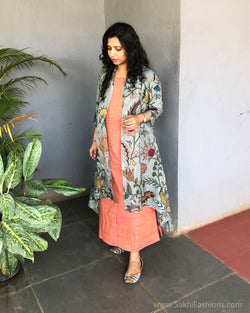 EE-S20647 - Peach Kalamkari Indowestern dress