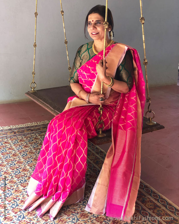 EE-S21048 - Pink pure Chanderi Saree