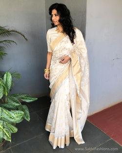 EE-S21049 - Cream pure Chanderi Saree