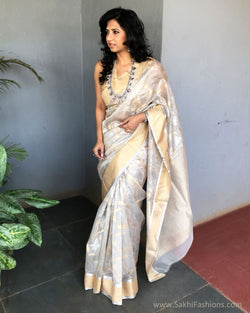 EE-S21050 - Grey pure Chanderi Saree
