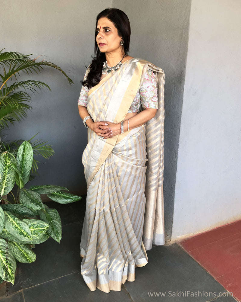 EE-S21051 - Grey pure Chanderi Saree