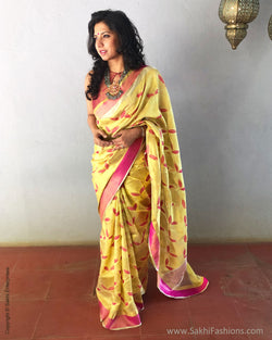 EE-S21053 - Yellow Chanderi Saree