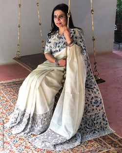EE-S21062 - Cream pure Tussar Saree