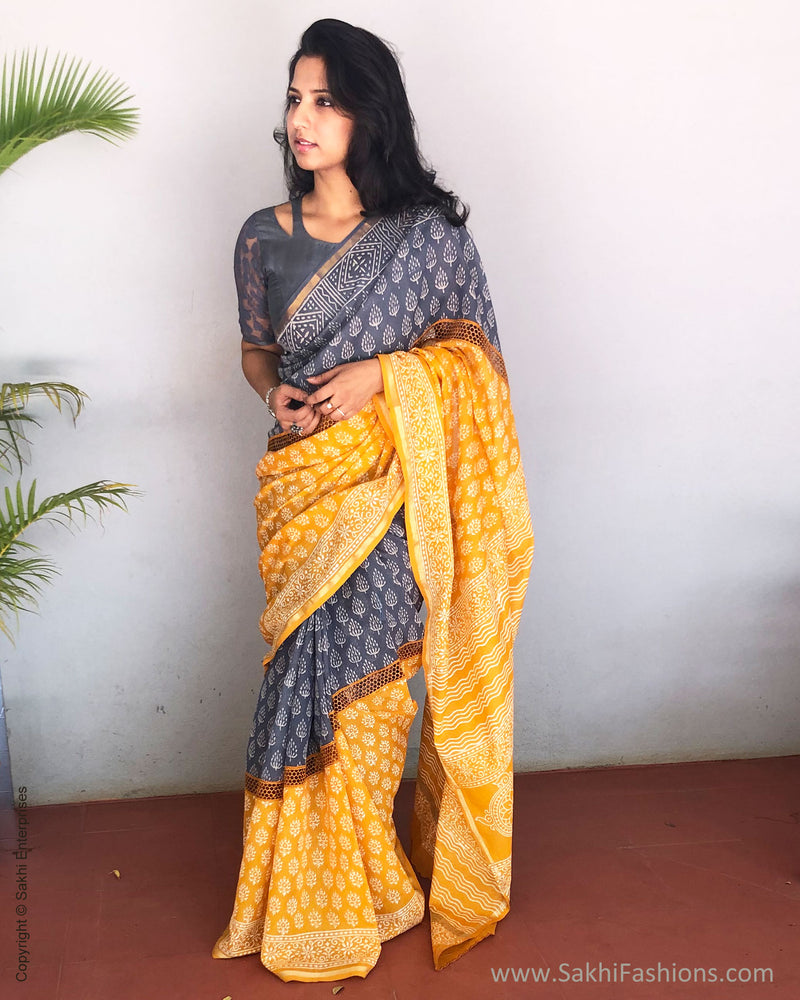 EE-S21495 - Mustard & Grey pure Chanderi saree
