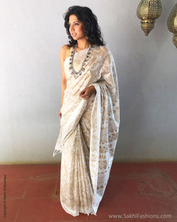EE-S21543 - White pure Munga Cotton Saree