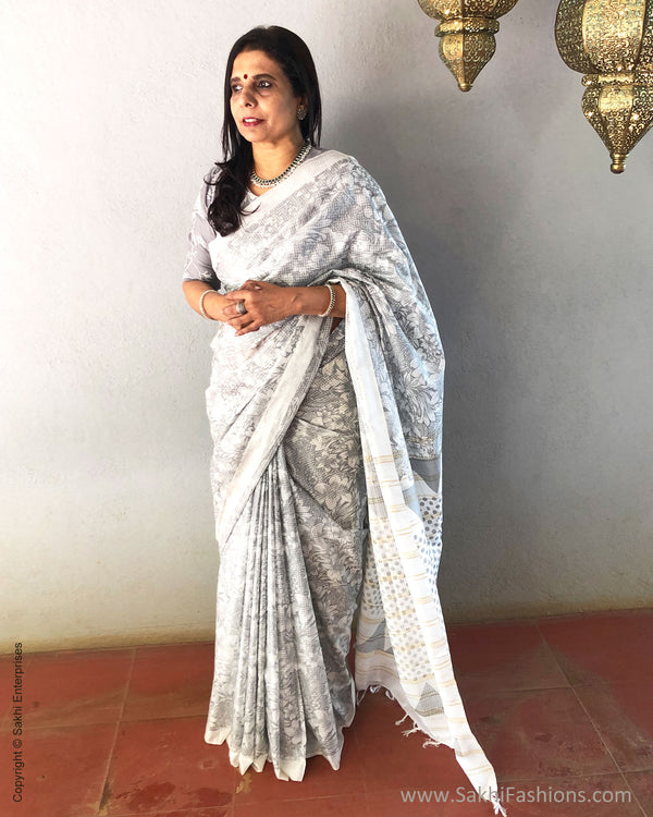 EE-S21546 - White pure Munga Cotton Saree