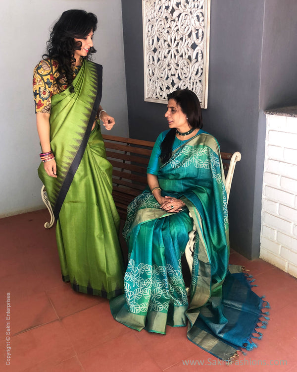 EE-S21579 Green Tussar Saree