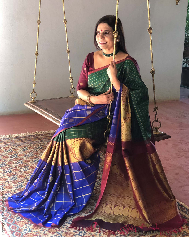 EE-S21598 - Green & Blue pure Kanchivaram silk saree