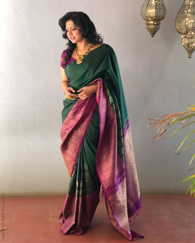 EE-S21599 - Green & purple pure Kanchivaram silk saree