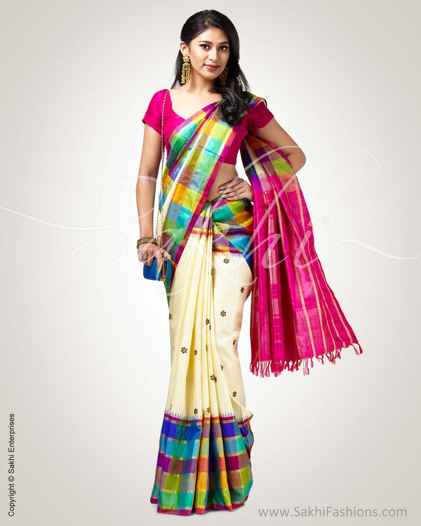 SR-0905 - Cream & Multi pure Kanchivaram silk saree