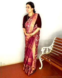 EE-S21891 - Beige & Purple pure Tussar silk saree